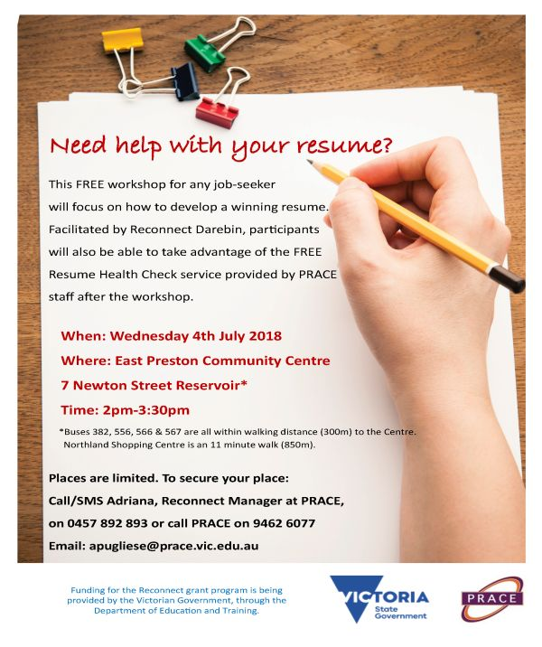 prace free resume workshop- 4th of july